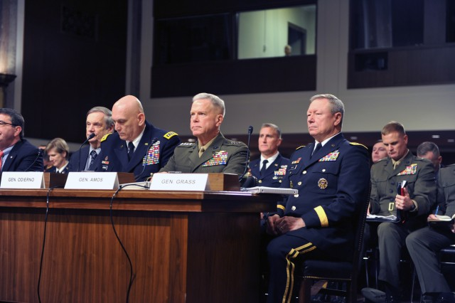 Gen. Frank Grass, the chief of the National Guard Bureau (right), testifies to the Senate Armed Services Committee, along with other members of the Joint Chiefs of Staff, on the impact on the Defense Department of sequestration and a year-long continuing resolution at the Dirksen Senate Office Building in Washington, D.C., Feb. 12, 2013.