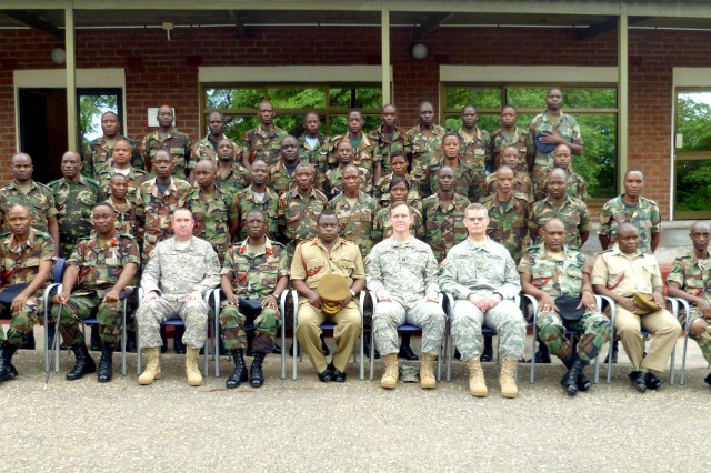 African Deployment Partnership Training, Ground Phase II, Train-the-Trainer, class photo taken at the Malawi Armed Forces College. As part of African Deployment Partnership Training, four U.S. Army officers traveled to Salima, Malawi, to conduct convoy training with 32 Malawian Defence Force personnel, from Jan. 21 to Feb. 1, 2013.