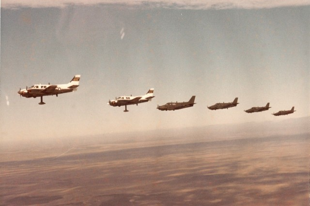The last formation of these aircraft. Notice the extended antenna on the two Left Jabs in the front of the formation.