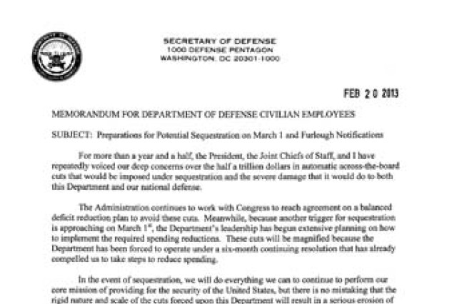 DoD Memo Preparations for potential sequestration on March 1 and – Army Memo