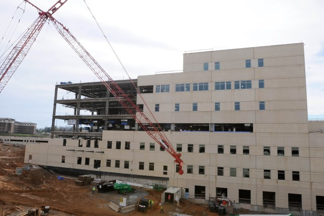 The hospital's construction is on schedule. This photo shows the building as of Feb. 14.