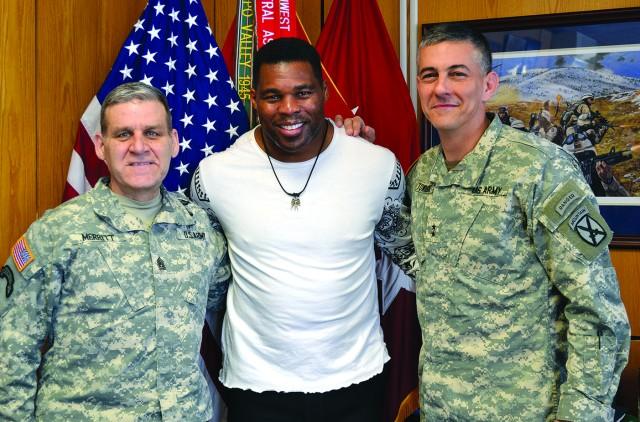 Herschel Walker visits Fort Drum
