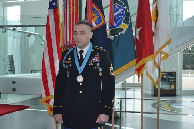 Sgt. 1st Class Sergei Volodin wears his Sergeant Audie Murphy Club medal proudly following an induction ceremony into the elite club for noncommissioned officers Jan. 25.