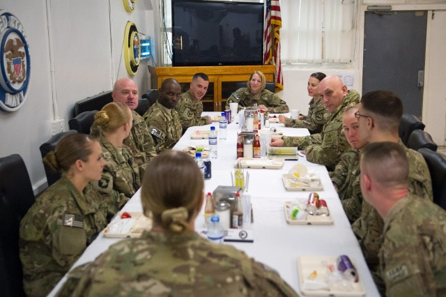 U.S. Army Chief of Staff Gen. Raymond T. Odierno have breakfast with Soldiers from Combined Joint Task Force-1/Regional Command East at Bagram Airfield, Afghanistan, Feb. 21, 2013.