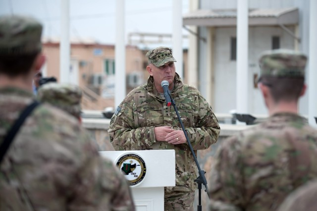 U.S. Army Chief of Staff Gen. Raymond T. Odierno speak to Soldiers from Combined Joint Task Force-1/Regional Command East at Bagram Airfield, Afghanistan, Feb. 21, 2013.