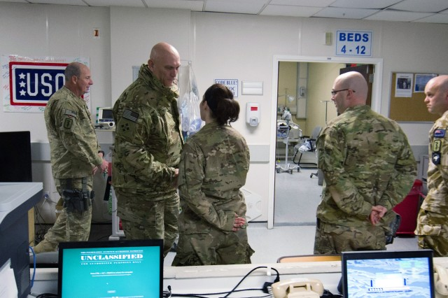 U.S. Army Chief of Staff Gen. Raymond T. Odierno visits the Staff Sgt. Heathe N. Craig Joint Theater Hospital at Bagram Airfield, Afghanistan, Feb. 21, 2013.