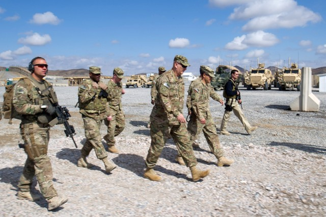 Army Chief of Staff Gen. Raymond T. Odierno arrives at Forward Operation Base Frontenac, Afghanistan, Feb. 22, 2013. Odierno met with Lt. Col. Paul Weyrauch, commander of the 2nd Battalion, 3rd Field Artillery Regiment, 1st Armored Division.
