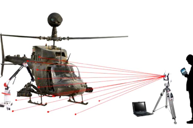 The Kiowa Portable Alignment System, managed within RDECOM's Aviation and Missile Research, Development and Engineering Center at Redstone Arsenal, Ala., is enabling field alignment of the OH-58 Kiowa helicopter. The ManTech solution is shown.