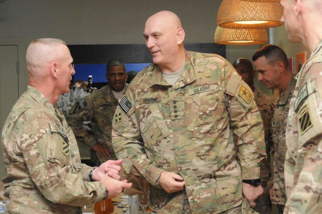 Army Chief of Staff Gen. Raymond T. Odierno greets key leaders from Regional Command -- South, Feb. 21, 2013. Odierno visited Soldiers and leaders in RC-S to get updates on how well the Army is preparing and training Soldiers.