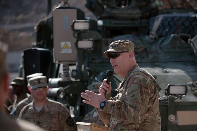 Army Chief of Staff Gen. Raymond T. Odierno speaks to Soldiers on Forward Operation Base Masum Ghar, Afghanistan, Feb. 22, 2013.