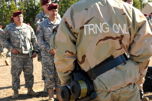 Forces Command, XVIII Airborne Corps and 82nd Airborne Division leadership observe as Soldiers assigned to 20th Support Command demonstrate the capabilities of the Chemical, Biological, Radiological, Nuclear and High-Yield Explosives (CBRNE) Response Team (CRT), Feb. 21. CBRNE specialists and Explosive Ordnance Disposal (EOD) technicians from 20th SUPCOM units all over the country traveled to Fort Bragg, N.C., for the demonstration and to augment 2nd Brigade Combat Team, 82nd Abn. Div. during the brigade's Joint Operational Access Exercise, Feb. 27-March 9.