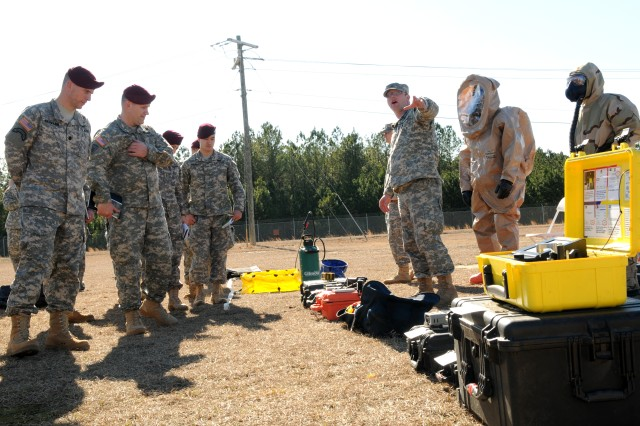 A Soldier assigned to 20th Support Command demonstrates the capabilities of the Chemical, Biological, Radiological, Nuclear and High-Yield Explosives (CBRNE) Response Team (CRT) to Forces Command, XVIII Airborne Corps, and 82nd Airborne Division leadership, Feb. 21. CBRNE specialists and Explosive Ordnance Disposal (EOD) technicians from 20th SUPCOM units all over the country traveled to Fort Bragg, N.C., for the demonstration and to augment 2nd Brigade Combat Team, 82nd Abn. Div. during the brigade's Joint Operational Access Exercise, Feb. 27-March 9.
