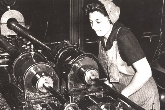 Since the establishment of the Watervliet Arsenal in 1813, women have been a part of the workforce.  This photo was taken during World War II when more than 3,000 women worked at the Arsenal.