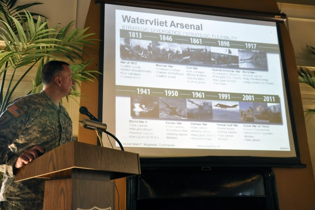 Arsenal Commander Col. Mark F. Migaleddi participated in nearly 60 community events last year to tell the Arsenal story.