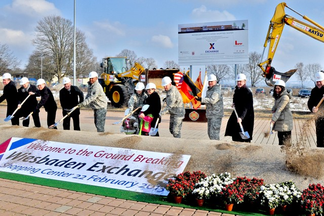 German and American officials break ground to launch the start of construction on the new $35 million Wiesbaden Exchange.