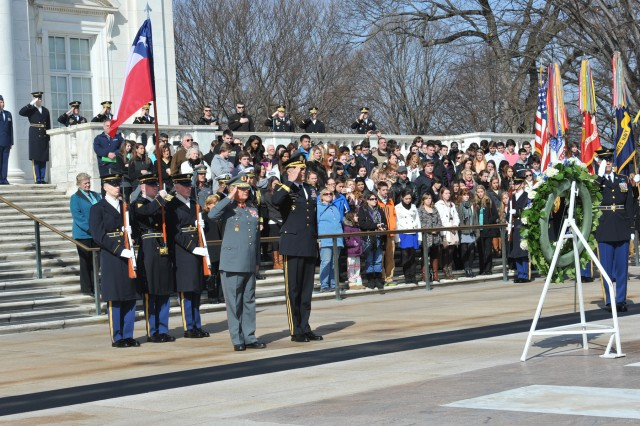 The Chilean Chief of the Joint Staff, Lt. Gen. Hernan Mardones Rios and Maj. Gen. Michael S. Linnington, commanding general of the Joint Force Headquarters - National Capital Region and the U.S. Army Military District of Washington (JFHQ-NCR/MDW) render honors after placing a wreath at the Tomb of the Unknowns, Arlington National Cemetery, Feb. 25, 2013.  Rios is participating in the U.S. Chairman of the Joint Chiefs of Staff Counterpart Visits to the United States program.