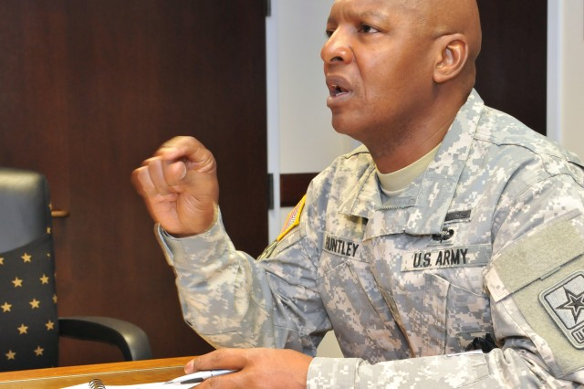 USAREC Deputy Commanding General Brig. Gen. Henry Huntley talks with battalion commanders during his quarterly training VTC Feb. 21 at the USAREC headquarters.