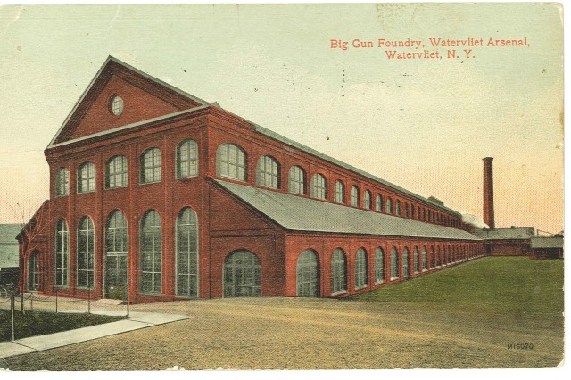 An early 1900s postcard of the Arsenal's Historic Big Gun Foundry or what is today called the Big Gun Shop.  In this building in the late 1880s, the Arsenal transformed itself from manufacturing saddles and ammunition wagons to cannons.  This building remains in use today.