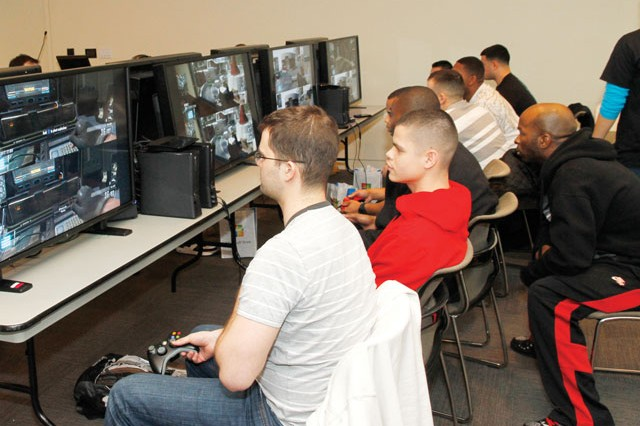 Gamers from throughout the Military District of Washington came to the Fort Belvoir USO Warrior and Family Center to compete in the Black Ops gamers tournament sponsored by Microsoft, AMD and HP.