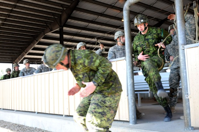 130227-A-DP764-260 Paratroopers from the 3rd Royal Canadian Regiment conduct mock door exits during pre-jump training alongside members of the 2nd Brigade Combat Team, 82nd Airborne Division, at Green Ramp on Fort Bragg, N.C., Feb 27. Military units from both nations partnered together for an eight-day Joint Operational Access Exercise designed to enhance worldwide contingency response capabilities.  (U.S. Army photo by Staff Sgt. Jason Hull, 2-82 PAO)