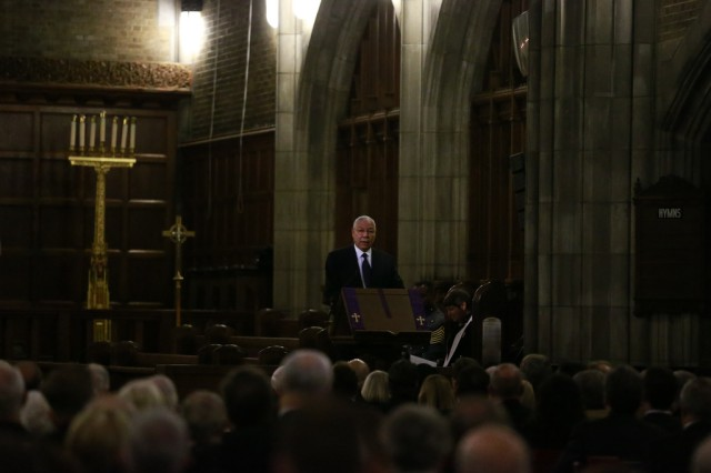 Colin Powell, former Secretary of State, speaks in the Cadet Chapel during the funeral for retired Gen. H. Norman Schwarzkopf, Feb. 28, 2013, at West Point, N.Y.