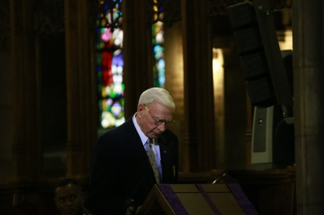 Retired Maj. Gen. Leroy Suddath, U.S. Military Academy Class of 1956, speaks in the Cadet Chapel during the funeral for retired Gen. H. Norman Schwarzkopf, Feb. 28, 2013, at West Point, N.Y.