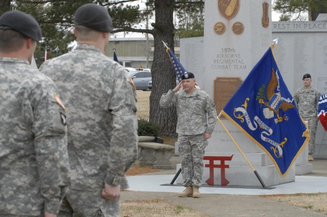 "Maj. John Page, Rear-Detachment commander of the 3rd Brigade Combat Team ""Rakkasans,"" 101st Airborne Division (Air Assault), salutes the commander of troops to conclude a 187th Infantry Regiment activation ceremony Feb. 20 at Fort Campbell, Ky. The ceremony celebrated the regiment's 70th anniversary since its activation in 1943 by honoring its long and valorous combat history and all of the fallen Rakkasans, whose names are inscribed on the pylons that stand in front of them. (U.S. Army photo taken by Sgt. Alan Graziano, 3rd Brigade Combat Team, 101st Airborne Division)"