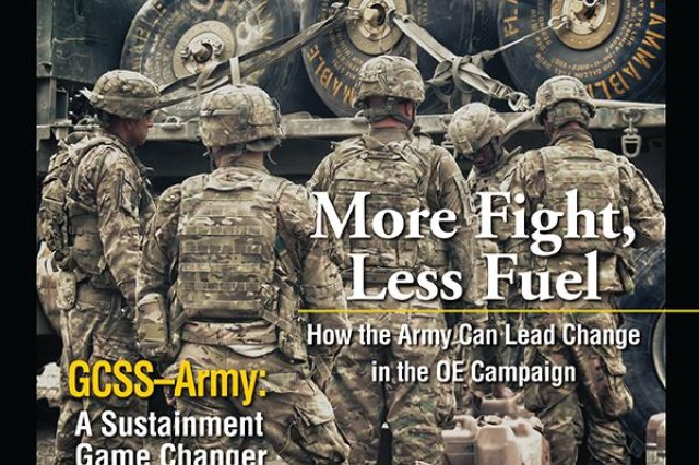 On the cover of the March-April issue of Army Sustainment Magazine, U.S. Army Soldiers line up to receive fuel for their mine-resistant ambush-protected vehicles during a convoy break en route to Forward Operating Base Tillman, Paktika province, Afghanistan, Nov. 21, 2012.