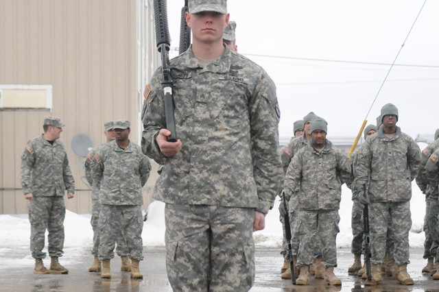 Soldiers from Warrior Leader Course Class 05-13 demonstrate their drill and ceremony skills Feb. 25.