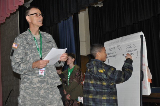 Col. Jamie Houston, DENTAC commander, leads students at C.C. Pinckney Elementary School through a dental hygiene quiz during this year's Sugar Bowl. The quiz matched two teams of students against each other in a test of their dental hygiene knowledge.