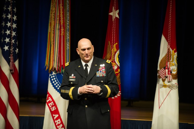 U.S. Army Chief of Staff Gen. Raymond T. Odierno gives his remarks during a Promotion and Swearing-In ceremony for Lt. Gen. John Campbell at the Pentagon Auditorium Mar. 8, 2013 in the Pentagon, Va. Campbell was promoted to the rank of 4-Star General and assumed duties as the 34th Army Vice Chief of Staff.