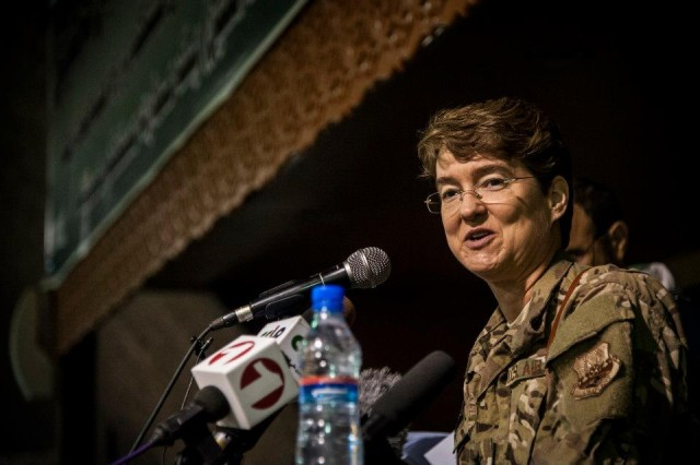 Brig. Gen. Jacqueline D. Van Ovost Speaks at an International Women's Day celebration at Kabul International Airport, Afghanistan, March 7, 2013. The celebration highlighted the contributions Afghan women make toward building a better and stronger Afghan Air Force.