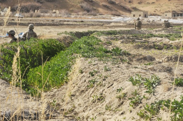 Soldiers with Bravo Company, 2nd Battalion, 23rd Infantry Regiment, approach a village with a suspected weapons cache during Operation Southern Fist III, March 3, in the district of Spin Boldak, Kandahar Province, Afghanistan. The soldiers enabled the Afghan Border Police and Afghan National Army to search for weapons caches and eliminate infiltration routes. (U.S. Army photo by Staff Sgt. Shane Hamann, 102nd Mobile Public Affairs Detachment.)