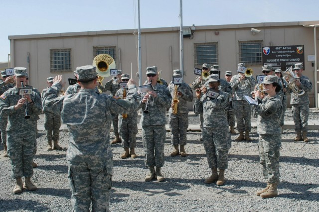 The Army Materiel Command Band increases morale in the United Arab Emirates by performing there for the very first time, Feb. 23-28th.