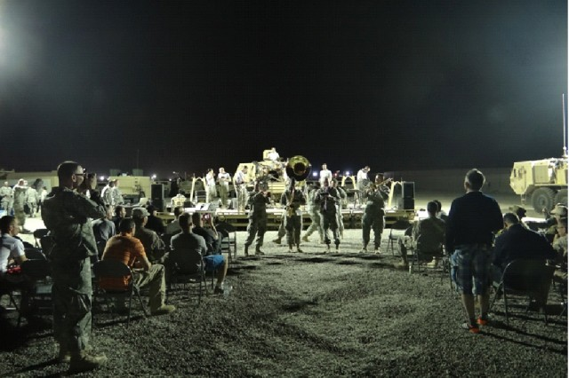 The Army Materiel Command band performs for the 2nd Battalion, 18th Field Artillery Regiment on Camp Redleg, Feb. 28.