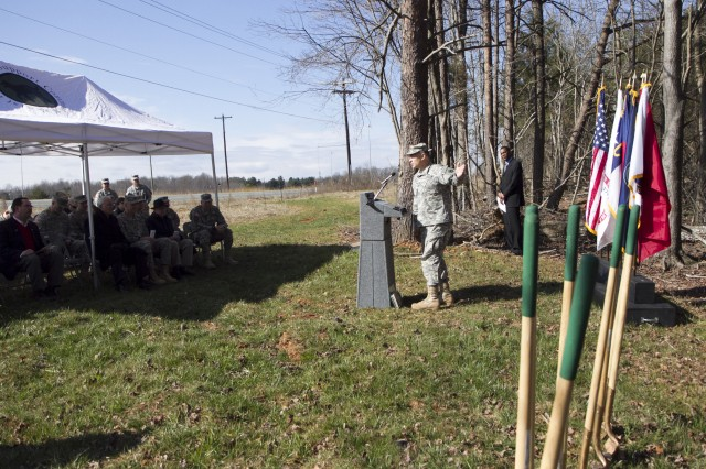 Maj. Gen. Gill P. Beck, commander of the 81st Regional Support Command, speaks during a ground breaking ceremony for a new Army Reserve Center in McLeansville, N.C. on March 2. The new Army Reserve Center will be the home for 600 Soldiers and five units. The units are the 12th Judge Advocate General Detachment; 422nd Civil Affairs Battalion; 320th Combat Support Hospital; 3rd Battalion, 518th Regiment Detachment 1 (Company D and E); and the 396th Ambulance Company.