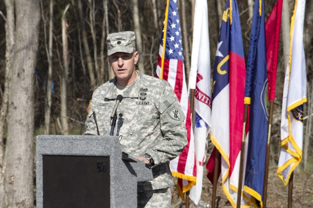 Lt. Col. Robert S. Cooley, Jr., commander of the 422nd Civili Affairs Battalion, speaks during a ground breaking ceremony for a new Army Reserve Center in McLeansville, N.C. on March 2. The new Army Reserve Center will be the home for 600 Soldiers and five units. The units are the 12th Judge Advocate General Detachment; 422nd Civil Affairs Battalion; 320th Combat Support Hospital; 3rd Battalion, 518th Regiment Detachment 1 (Company D and E); and the 396th Ambulance Company.