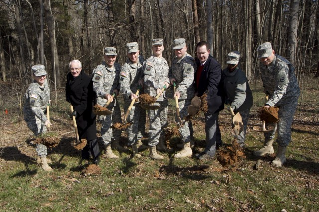 With a ceremonial dirt toss, ground is broken on a new Army Reserve center that will house the 12th Judge Advocate General Detachment; 422nd Civil Affairs Battalion; 320th Combat Support Hospital; 3rd Battalion, 518th Regiment Detachment 1 (Company D and E); and the 396th Ambulance Company. The total project cost is approximately $16 million and the projected completion date of the project is the summer of 2014.