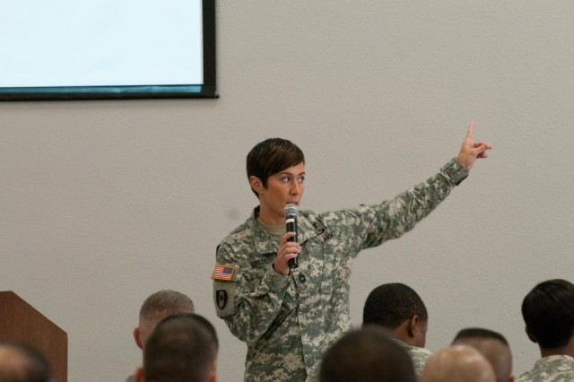 Master Sgt. Jennifer Loredo teaching Master Resilience Training to NCOs in Hawaii last August.