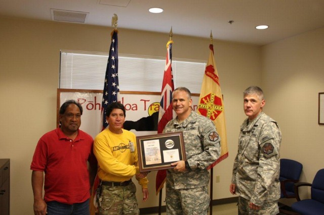"""(Left to right) Gerrit Pasco, Range Maintenance supervisor; Anthony """"Tex"""" Texeira; Lt. Col. Eric Shwedo; and Command Sgt. Maj. Alan Higgs join Pasco to receive the award."""