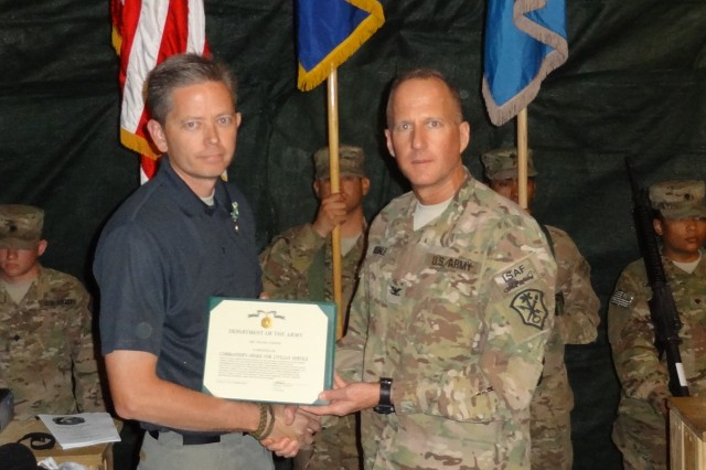 Col. Adam R. Hinsdale, commander, Task Force Observe Detect Identify Neutralize-Enhanced (ODIN-E), participated in a Transfer of Authority Ceremony at Kandahar Airfield, Afghanistan, March 1.