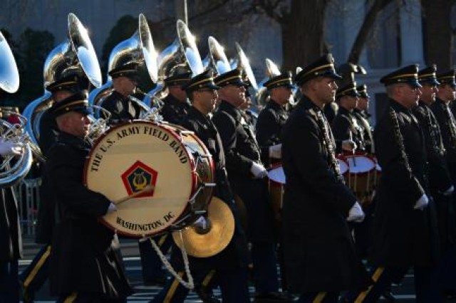 The U.S. Army Field Band performs during the presidential inauguration parade in Washington, D.C., Jan. 21, 2013. The band's spring concert tour is canceled due to sequestration.