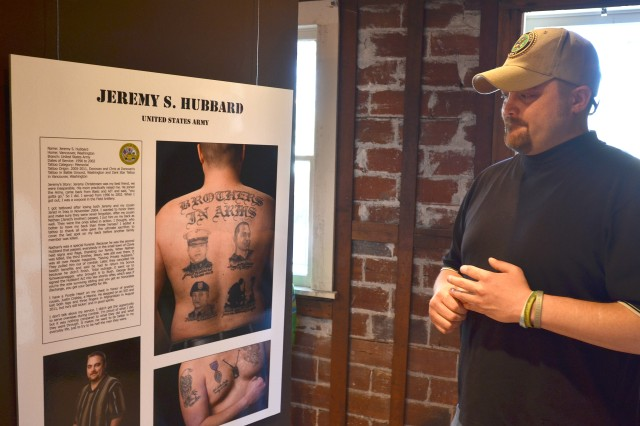 Jeremy Hubbard talks about the memorial tattoos on his back of his best friend and cousins, all killed in action.