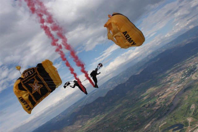 The Golden Knights perform at an airshow in Rifle, Colo., July 10, 2011. Such performances are canceled through September due to sequestration.