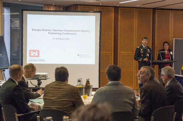 Senior leaders from the U.S. Army Corps of Engineers Europe District, along with representatives from German federal and state construction ministries, got together Feb. 27-28 in Freiburg, Germany, for the annual Bauamt Partnering Meeting. More than 100 people attended the two-day session, exchanging experiences and ideas with project managers and key figures from the ministries, local construction agencies and USACE.