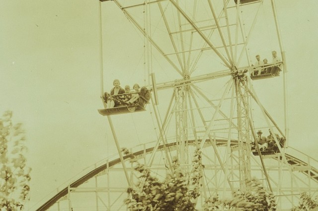 Bertrand Island Amusement Park, as seen in this circa 1930 photograph, was a bustling hub of park rides and activities from the 1920s to 1983.