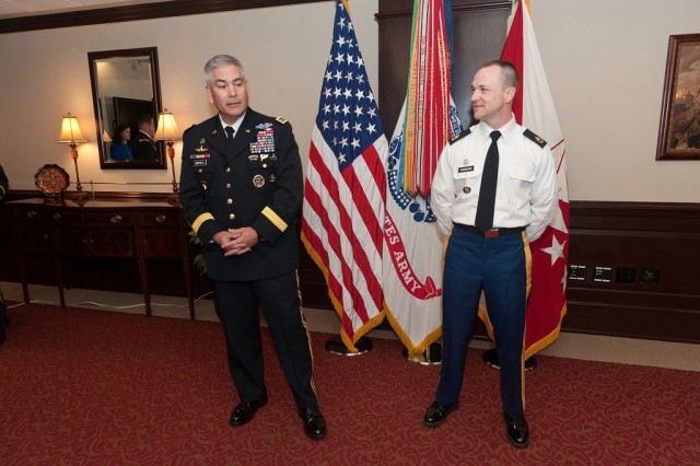 Gen. John F. Campbell, vice chief of staff of the Army, promoted Sgt. 1st Class Keith Kimmons to master sergeant at the Pentagon, March 13, 2013. Campbell said the Noncommissioned Officer Corps is the backbone of the Army, and it was an honor to promote Kimmons.
