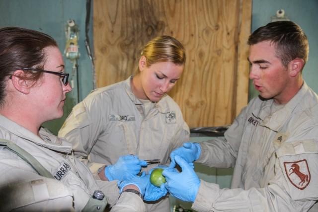 Combat medics practice thier skills