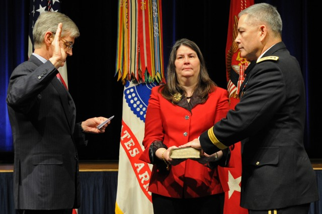 After receiving his fourth star, Gen. John F. Campbell is sworn in as the Army's 34th vice chief of staff by Secretary of the Army John McHugh, March 8, 2013. Campbell's wife, Ann, holds the Bible. Campbell succeeds Gen. Lloyd J. Austin III as the Army's vice chief of staff.