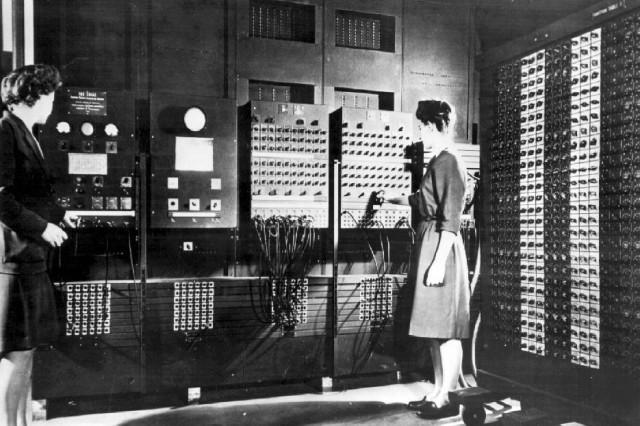 Elizabeth Jean Jennings and Frances Bilas preparing for the public unveiling of ENIAC.